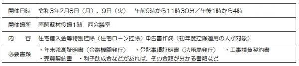 阿蘇税務署等の申告相談会